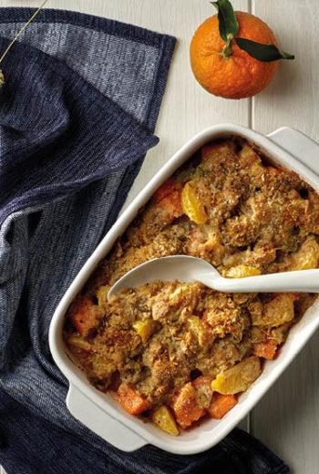 Crumble de patate douce et clémentine de Corse - farine de châtaigne parmesan et gorgonzola
