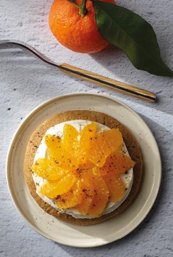 Sablé au sarrasin crème vanille et suprême de Clémentine de Corse